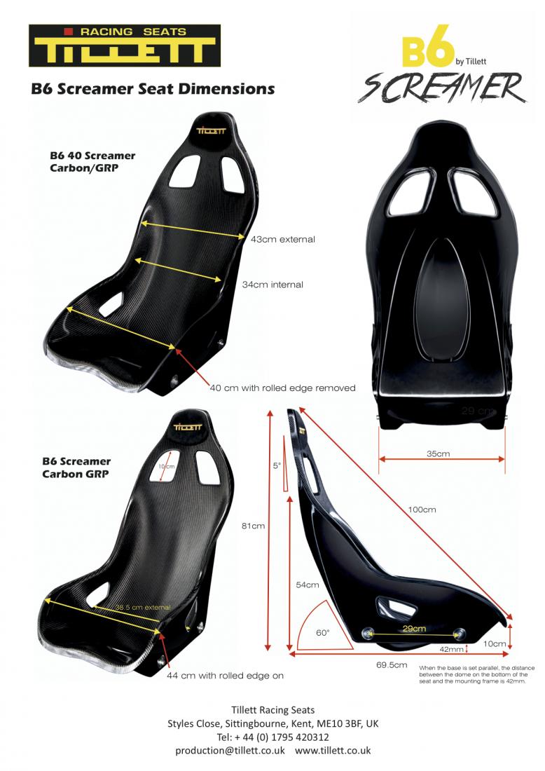 Tillett B6 Screamer Dimensions