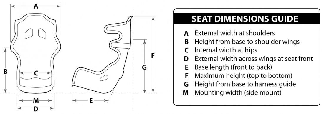 Racetech RT4100HR  seat dimesnions