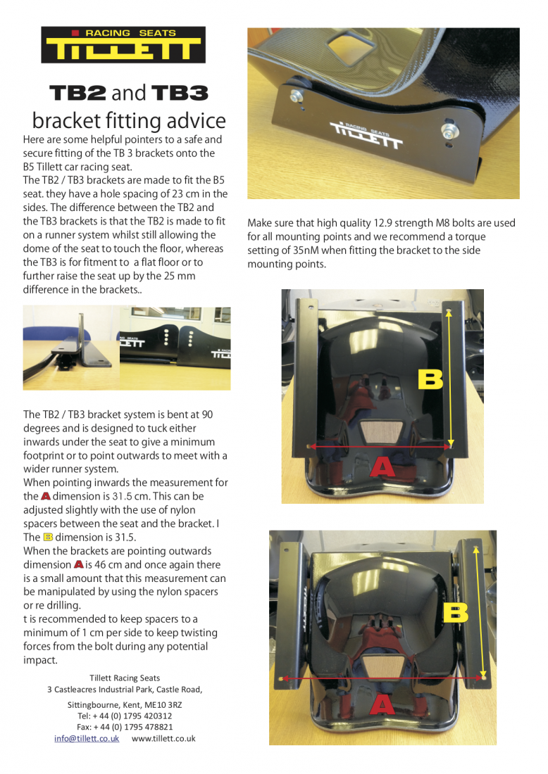 Tillett TB2 and TB3 brackets for use with B5 seat