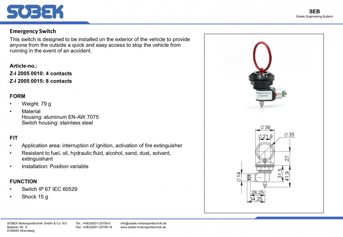 Sobek Motorsport Emergency Cutoff Switch