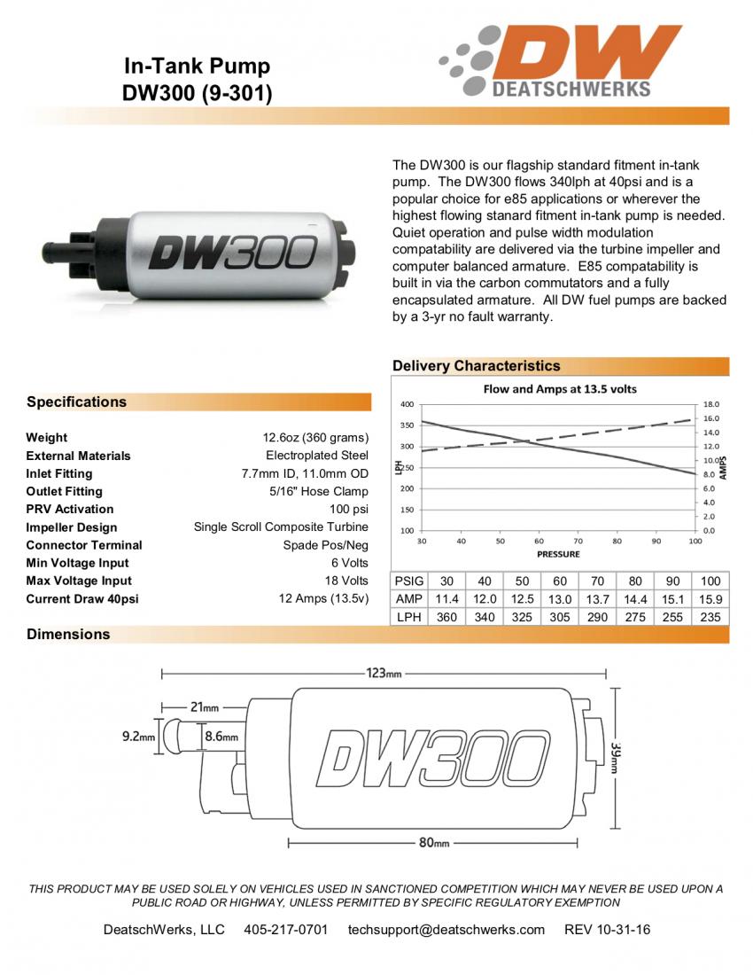 Deatschwerks DW300 tech sheet
