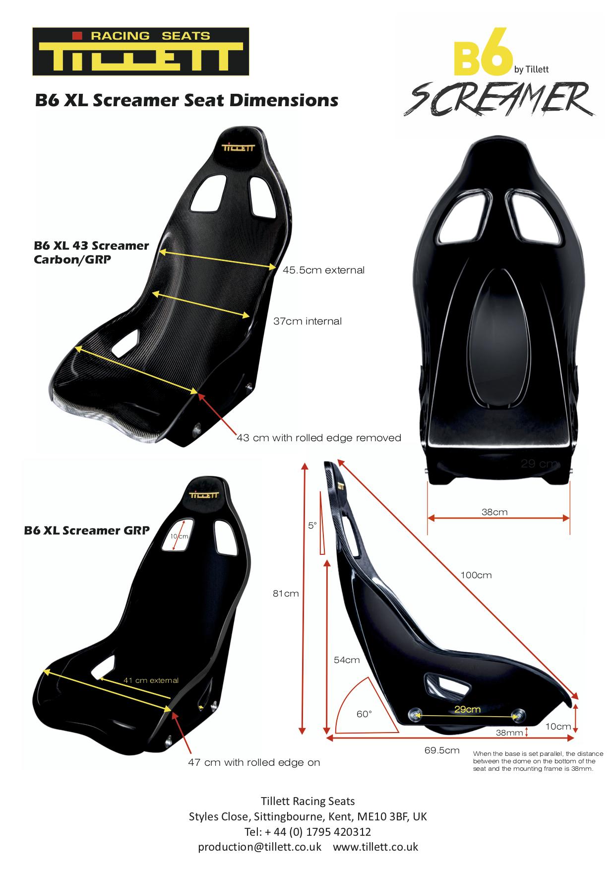 B6 XL Screamer Dimensions