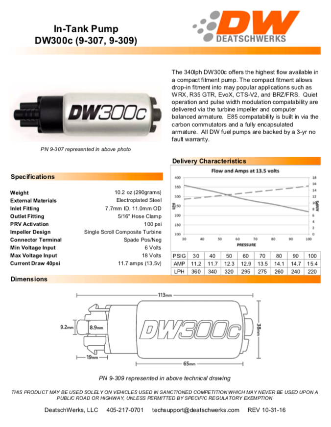 Deatschwerks DW300c Series Tech Sheet