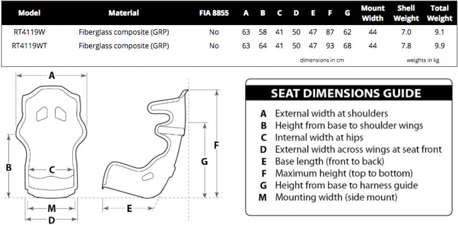 Racetech 4119 dimensions