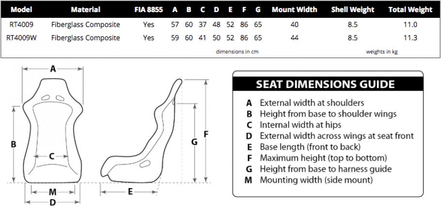 Racetech 4009 dimensions