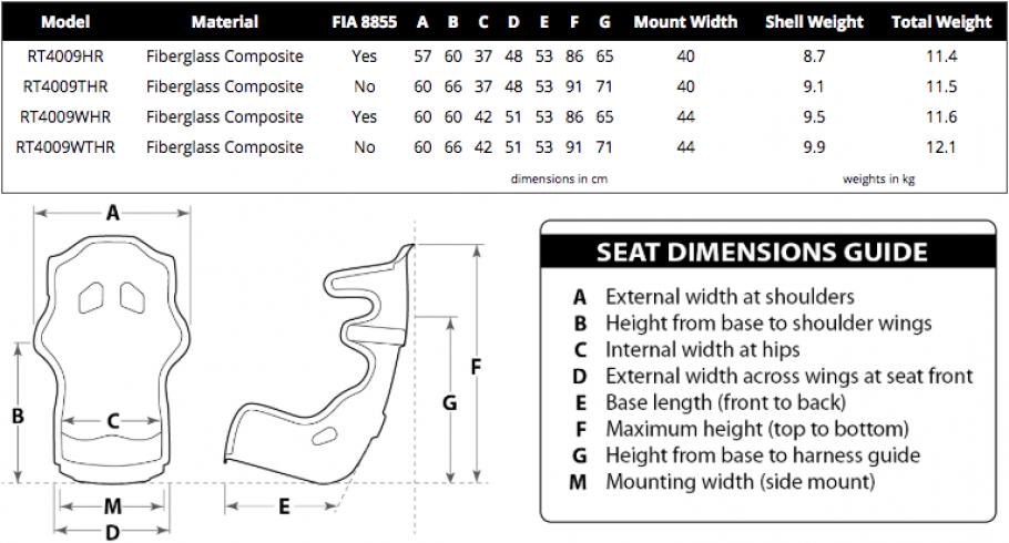 Racetech 4009HR seat dimensions