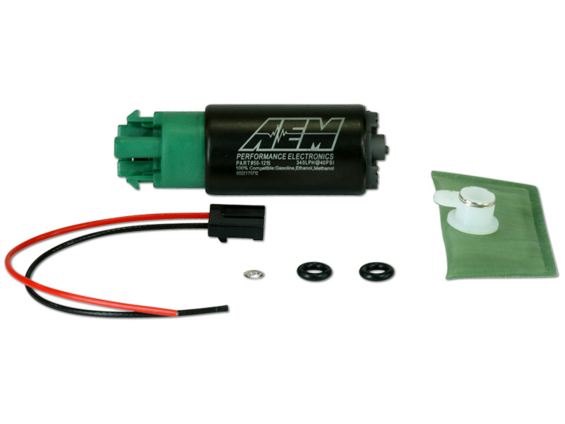 AEM 340lph E85-Compatible High Flow In-Tank Fuel Pump (65mm with hooks, Offset Inlet)