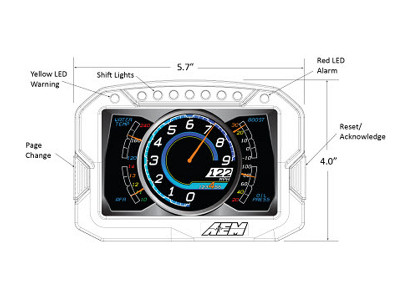 AEM CD-5 Digital Dash Dimensions Front