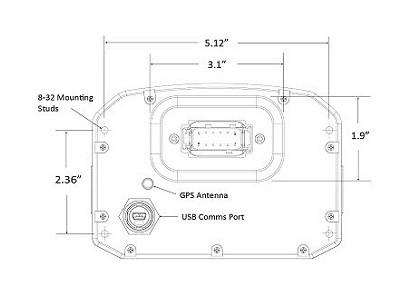 AEM CD-5 Digital Dash Dimensions Rear