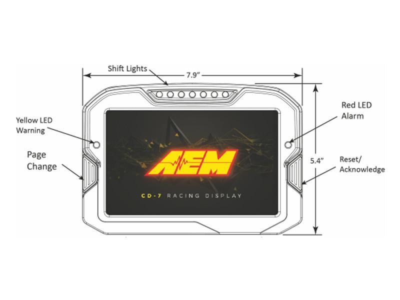 AEM CD-7 Digital Dash Dimensions Front