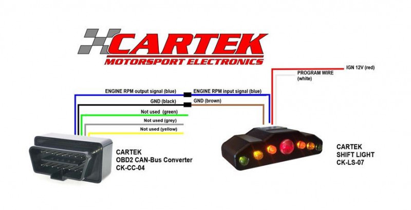 Cartek OBD2 shift light wiring
