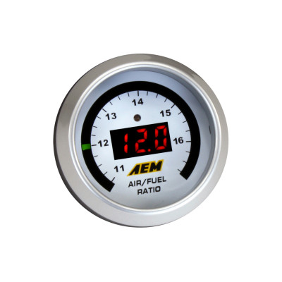AEM Digital Wideband UEGO Gauge - silver faceplate and silver bezel