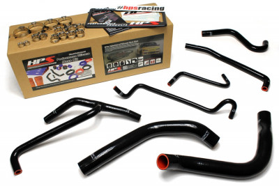HPS Ford 11-14 Mustang 3.7L V6 High Temp Reinforced Silicone Radiator and Heater Hose Kit - Black