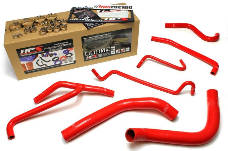 HPS Ford 11-14 Mustang 3.7L V6 High Temp Reinforced Silicone Radiator and Heater Hose Kit - Red