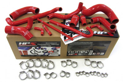 HPS BMW 88-91 E30 M3 LHD High Temp Reinforced Silicone Radiator and Heater Hose Kit Coolant - Red