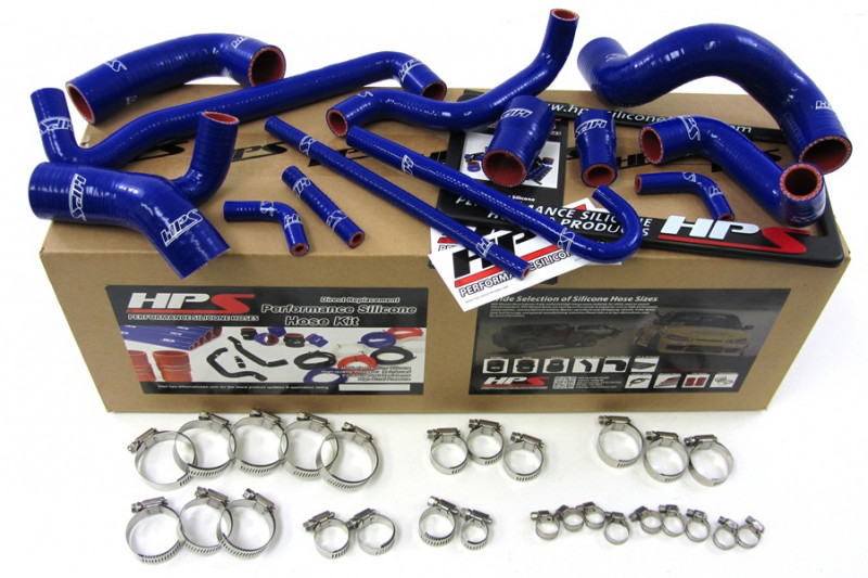 HPS BMW 88-91 E30 M3 LHD High Temp Reinforced Silicone Radiator and Heater Hose Kit Coolant - Blue