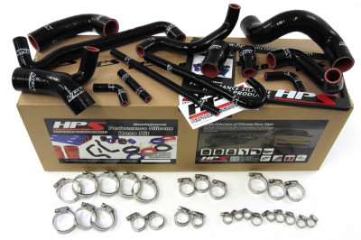 HPS BMW 88-91 E30 M3 LHD High Temp Reinforced Silicone Radiator and Heater Hose Kit Coolant - Black
