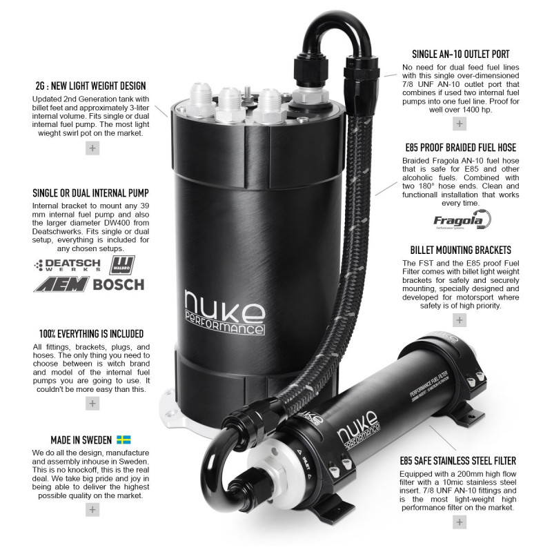 Nuke Performance 2G Surge Tank Kit for Internal Fuel Pumps