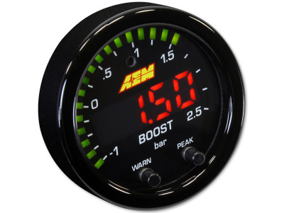 AEM X-Series Boost Pressure Gauge in BAR mode