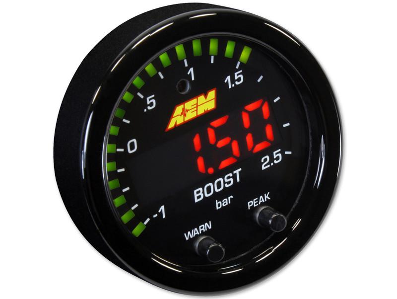 AEM X-Series Boost Pressure Gauge in BAR mode