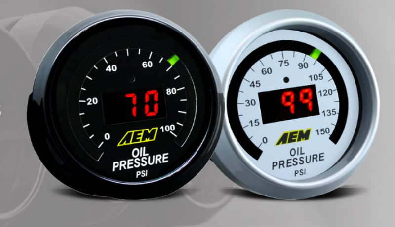 AEM Oil Pressure Gauge - 0-150 PSI