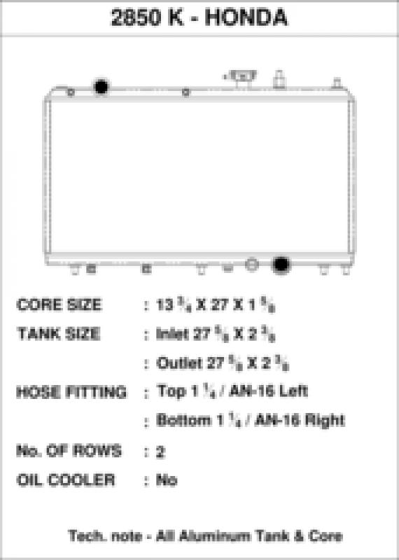 CSF 2850K radiator specs