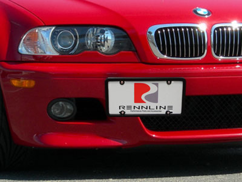 Rennline Tow Hook License Plate Mount - Installed on BMW