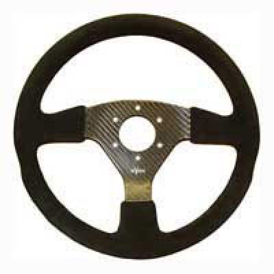 Reverie Rally 330 Carbon Steering Wheel - MOMO/Sparco/OMP Drilled, Alcantara Trimmed