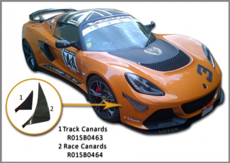 Reverie Lotus Exige S3 V6 / Porsche 911 GT3 Carbon Fibre Bumper Canards Large Race - Pair