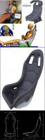 Reverie Super Sports B Carbon Fiber Seat - Single Skin, Black Fabric Trimmed, FIA Approved